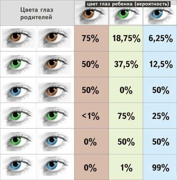 Какой цвет глаз у ребенка таблица
